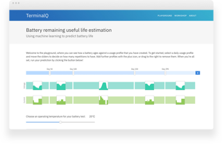 Image of the TerminalQ battery playground website designed by Fluent, Cambridge